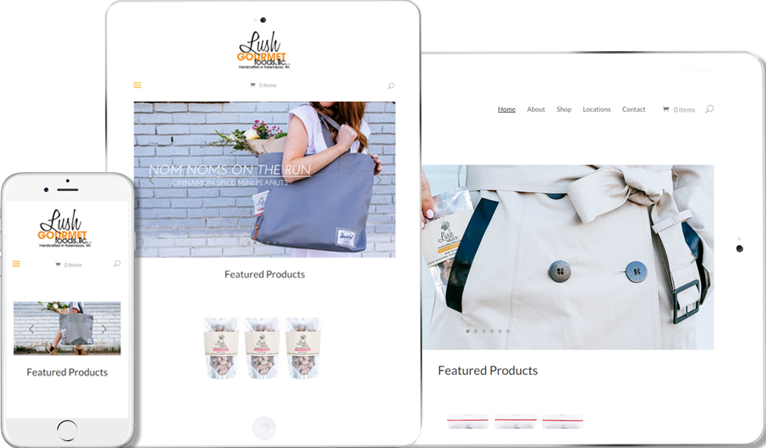Our client Lush Gourmet Foods website responsive on all platforms